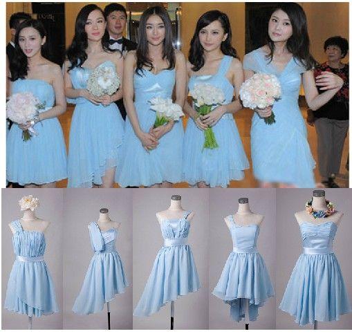 Nieuwe Goedkope Elegante 5 Stijlen Chiffon Kleurrijke Knielengte Bruidsmeisjes Jurken / Bruiloft Jurken