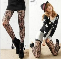 Wholesale Tight Lycra Sexy - NEW Black Sexy Floral Rose Stocking Pantyhose Tights