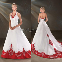 Wholesale Embroidered Halter Wedding Dress - 2015 Backless wedding dresses A-Line with beaded embroidered halter Chapel train satin white and red bridal gown BO005