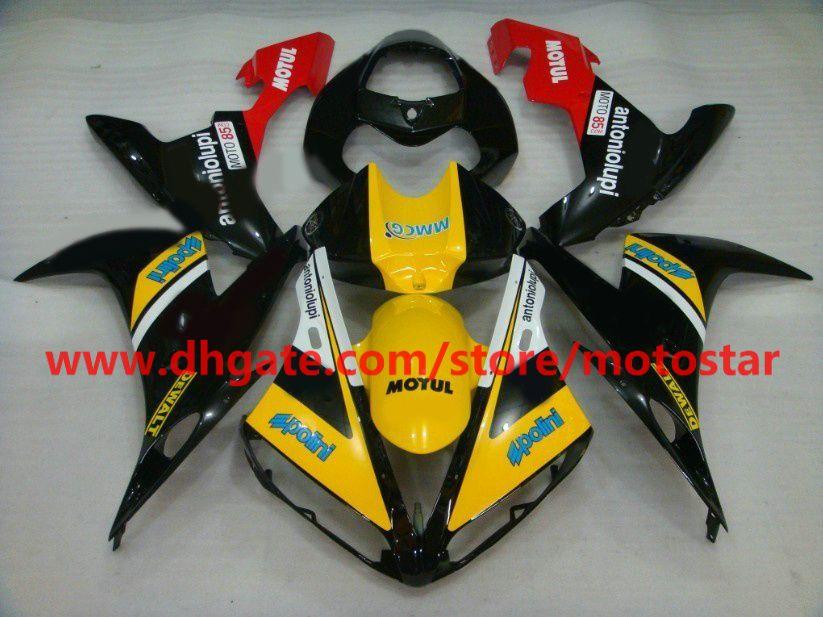 Gratis Anpassa Fairing Kit för 2004 2005 2006 Yamaha YZF-R1 04 05 06 YZFR1 YZF1000 YZF R1 Yellow Black Fairings Kit