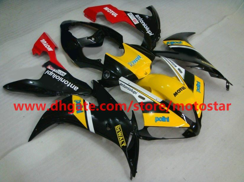 Free Customize fairing kit for 2004 2005 2006 YAMAHA YZF-R1 04 05 06 YZFR1 YZF1000 YZF R1 yellow black fairings kit