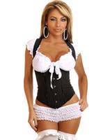 Wholesale Girls Shapewear - Sexy Corsets Shapewear Women Waist Trainers Corsets Office Girl Pinstripe Underbust Corset Shoulder Straps Lace-up Back C8335
