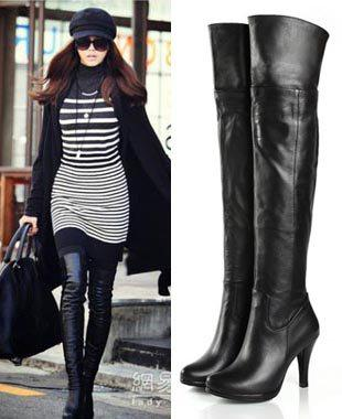 Women'S Classic Genuine Leather Platform Over Knee Thigh High Heel ...