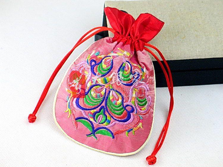 Sacchetto di immagazzinaggio dei monili piccolo ricamato della rappezzatura dei monili Sacchetti d'imballaggio della tasca della moneta del sacchetto del regalo del tessuto del raso del tessuto etnico cinese /