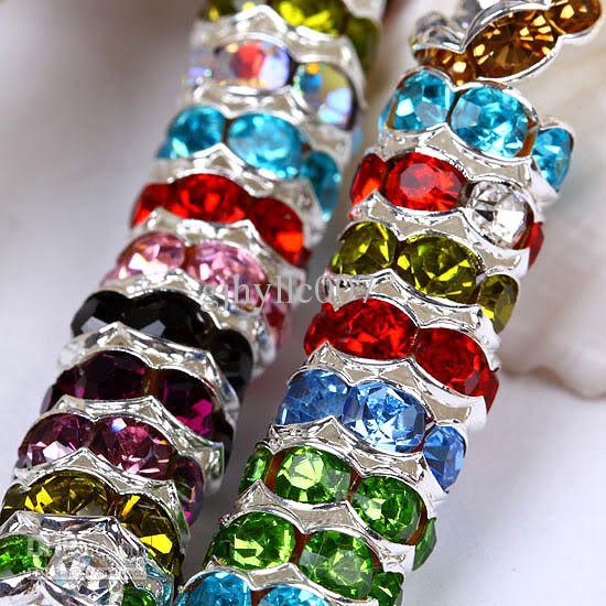Quente 6/7/8 MM banho de prata misturados A strass cristal espaçador onda Beads resultados da jóia