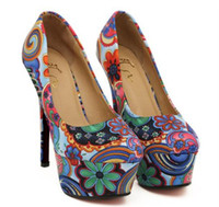 Women Pumps Spring and Fall 2013 New Sexy Spring Lover Blue Floral Prints Colorful High Platform Heels Shoes 2 Colors Size 35-39