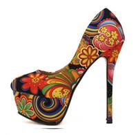 portakal platformları topuklu toptan satış-2013 Yeni Bahar Sevgilisi Turuncu Çiçek Baskılar Renkli Yüksek Platform Topuklar Ayakkabı 2 Renk Boyutu 35-39