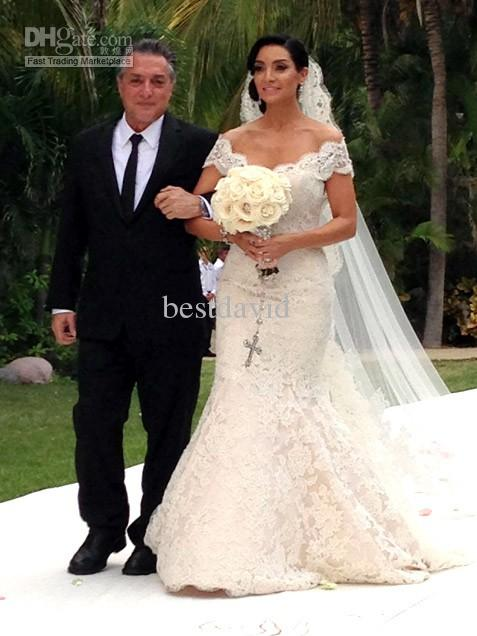 Cheap Off Shoulder Mermaid Lace Wedding Dress Mario Lopez V Neck ...