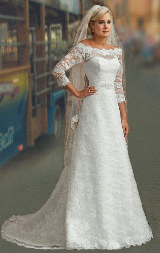 Discount Wedding Dresses Modest 3/4 Long
