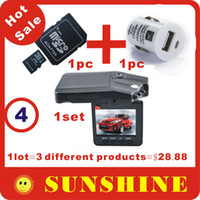 Wholesale Mobile Dvr Channel - Hot Sale H198 Car DVR Camera,1 lot=H198 1 set+8G TF card 1pc+mini USB Mobile car charger 1pc,3 diffe