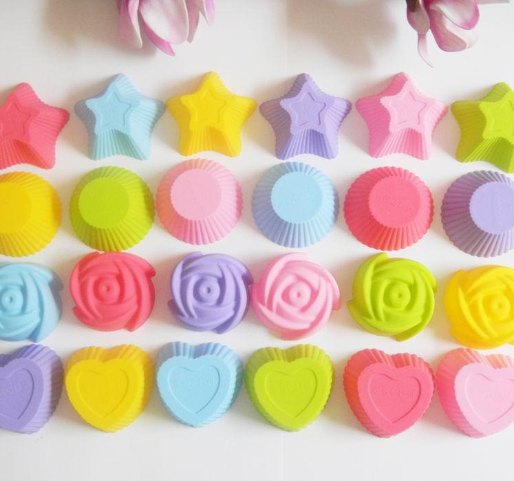 7cm Silicone Cake Mould 4 Mixed Cupcake Cake Molds Muffin Pudding Jelly Molds 60pcs Free Shipping
