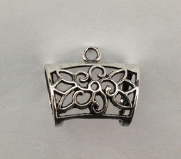 Wholesale Scarf Bail Alloy - 10pcs Antiqued silver Floral Design Scarf Ring Bails A15444