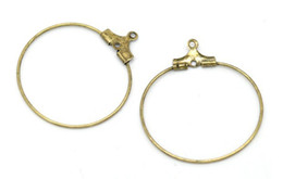 Wholesale Earwire Earrings - 100PCS Antiqued Bronze hoop earwire earring charms 44mm #22655