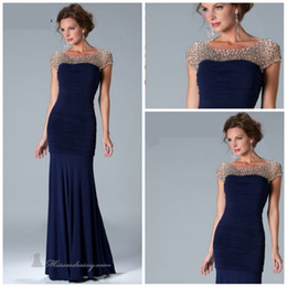 Wholesale Hot Simple Mermaid Dress - Hot sale Bateau Mermaid Sweep spandex Cap sleeves Dark Navy Mother of the bride dresses Evening gown