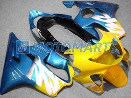 TOP Kit de carenado blanco azul amarillo para HONDA CBR600F4 99 00 CBR600 F4 1999 2000 CBR 600F4 Conjunto de calados de inyección desde fabricantes