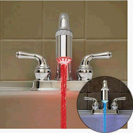 Wholesale Light Sensitive Water Tap - LED Red&Blue Water Stream Temperature Sensitive Faucet Tap Glow LED Faucet Shower Light Hot Sale new