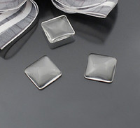 Wholesale Square Glass Cabochon Wholesale - 25PCS Square 15mm Clear Transparent Domed Magnifying Glass Cabochon Cover#22642