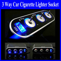 Wholesale Light Socket Power Adapter - 3 Way Auto Car Cigarette Lighter Socket Splitter 12V Charger Power Adapter with LED light Control