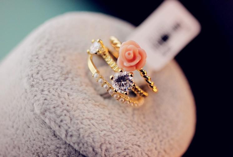 2 Fashion Jewelry Women Gold Plated Pearl Finger Rings for Girls