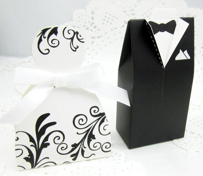 50 adet Gelin Damat Desen Şeker Kutusu Düğün Iyilik Hediye Kutuları Kıyafeti Smokin Yeni