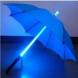 Wholesale Luminous Long Fabric - New LED Flashing Umbrella 7 colors with Flashlight in Handle 2016 Fashion Home Supplies Luminous long umbrella personality Dropship
