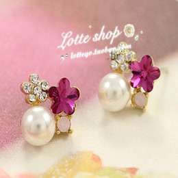 Wholesale Cheap Diamond Earring Studs - Plum Diamond Earrings Love stud Wedding earring high quality cheap earring free shipping