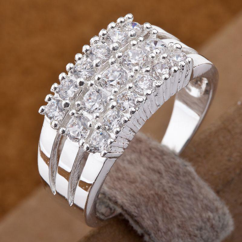 I cerchi brillanti scintillanti dell'argento 925 anellano gli anelli di diamante di stili di multi stili misti la dimensione 7,8