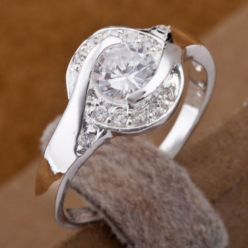 Brilhantes 925 Prata Brilhando Diamante Círculos Anéis Multi-estilo Anéis de Diamante Tamanho Misto 7,8