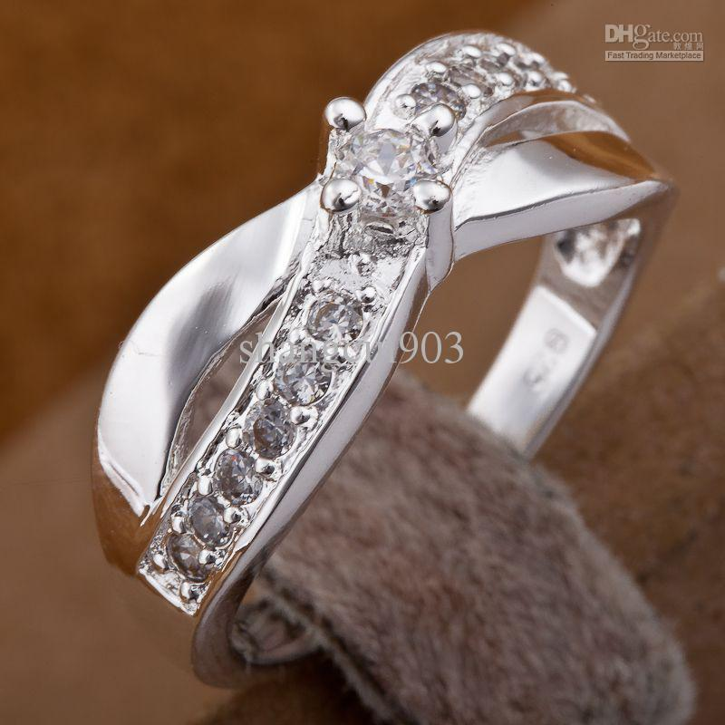 Sparkly 925 Silver Shining Diamond Cirkels Ringen Multi Stijlen Diamant Ringen Gemengde Maat 7,8 30st