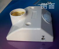 Wholesale Infrared Motion Sensor Light Switch - Free Shipping New Infrared Motion Sensor Automatic Light Lamp Bulb Holder Stand Switch White