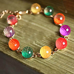 Wholesale Wholesale Colored Bracelets - Women's retro gold colorful candy-colored sweet crystal beads bracelet