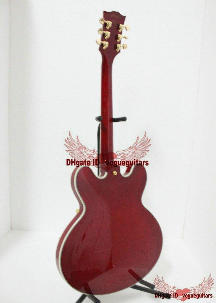 クラシックレッド335ジャズギターゴールドハードウェア非常に美容ギター中国からA9