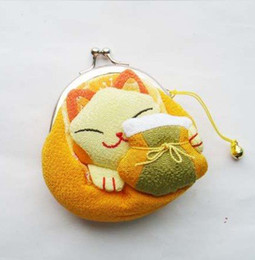 Wholesale Lucky Kimonos - Wholesale +Free shipping Japanese style Lucky cat coin purses,change pouch bags,kimono fabric Women