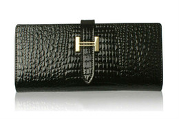 Wholesale Star Crocodile Purse - New Arrival Crocodile Vein Pattern Genuine Leather Women's Long Wallets, ladies' Fashion Purse, Clut