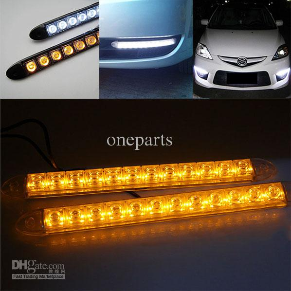 2x 12 led flexible light strip with turning yellow amber light auto 2x 12 led flexible light strip with turning yellow amber light auto drl lens led lights universal car led drl daytime running lights led drl kits from mozeypictures Image collections