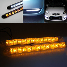 Wholesale Led Auto Amber Strip Lights - 2x 12 LED Flexible light strip with turning yellow amber light auto DRL Lens led lights universal car