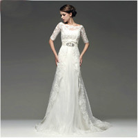 Wholesale Wedding Dress Bolero Sheer Lace - Two Piece Design Beaded Lace Tulle with 1 2 Sleeve Jacket Bolero Wedding Dresses Wedding Gown Dress