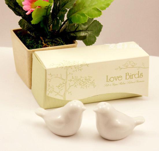 120 unids / lote = decoración de la boda favor- regalo más nuevo del partido, Cerámica amor aves sal pimienta coctelera