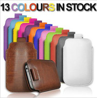 Wholesale Iphone 5s Leather Sleeve Black - Pull TAB Rope Leather Pouch Holster case for iphone 4 4S 4G 5 5S 5C 5G , Sleeve Bag with 13 colors