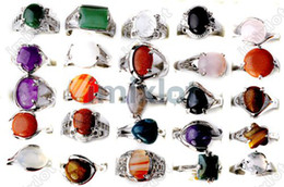 Wholesale Cubic Stone Jewellery - NEW Arrival Mix Lot 60pcs Natural Stone Rings Assorted Ring Jewellery Fashion Wedding Rings A+++ [STS01*60]