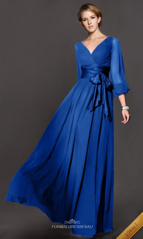 2014 Long Sleeve Vintage New Fashion Prom Dresses V Neck A Line ...