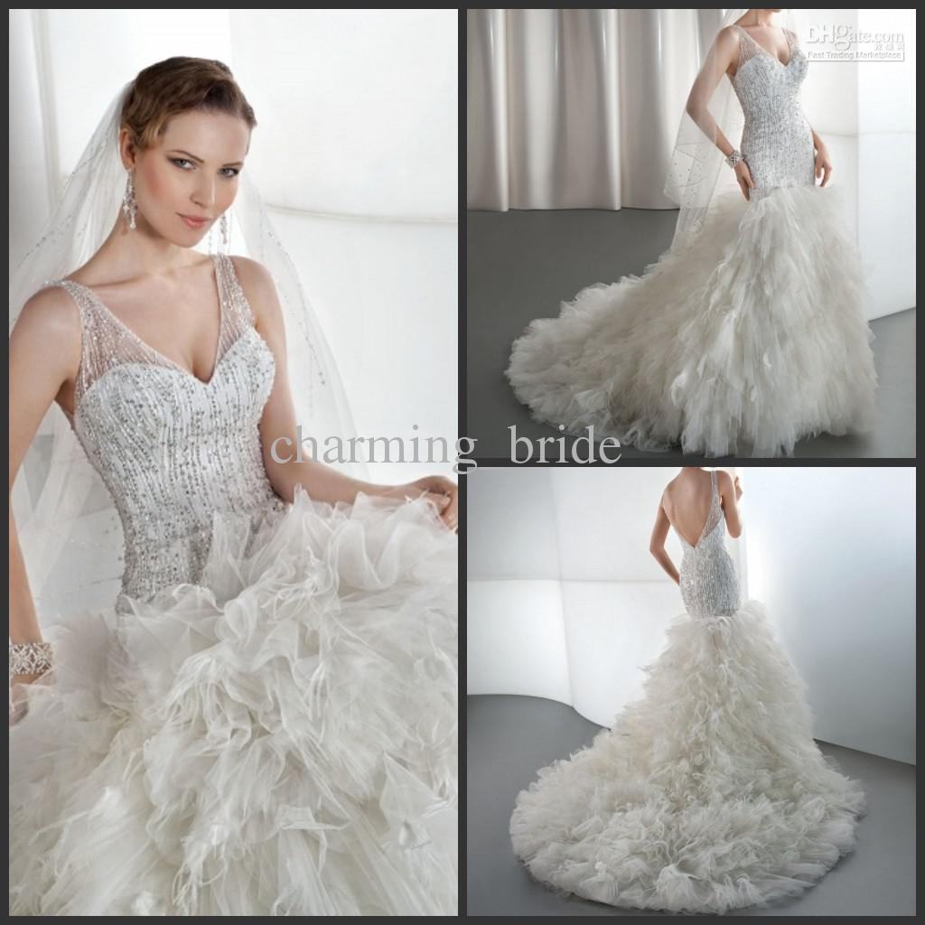 Wedding Gown With Feathers: 2013 Sexy Luxury Mermaid V Neck Feather Wedding Dresses