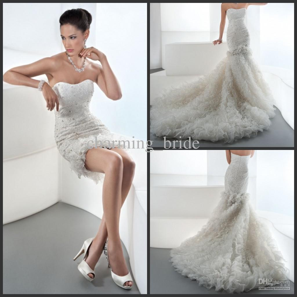 Unique mermaid strapless lace wedding dresses detachable ruffles see larger image ombrellifo Image collections