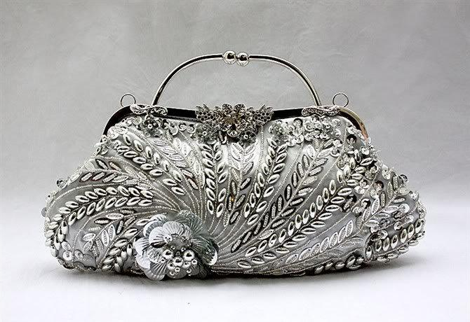 Silver Chinese Women'S Sequin Beaded Handbag Clutch Purse Wedding ...