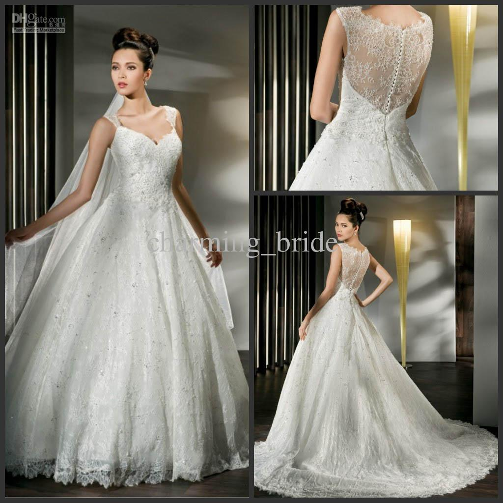 Discount 2013 elegant lace wedding dresses spaghetti for Classy lace wedding dresses