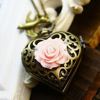 Wholesale Mens Locket Watch - Unisex Woman's Antique Gold Heart Pocket Watch Mens Locket Flower Necklace Swallow LARGE Steampunk
