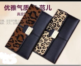 Wholesale Wholesale Horsehair - new stitching black horsehair leopard long section cowhide leather wallets & holders
