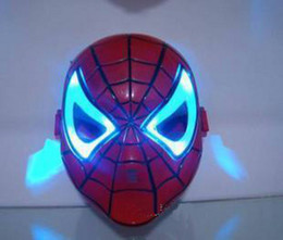Wholesale Make Spiderman Mask - Thicken Cosplay Glowing Spiderman Spider Man Mask with Blue LED Eyes Make up Toy for Kids Boys
