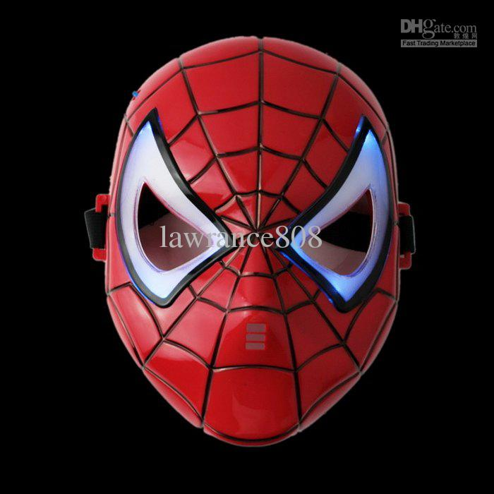 Thicken Halloween Glowing Spiderman Spider Man Mask With Blue LED Eyes For Kids Boys