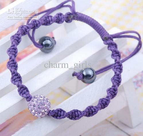 cristallo viola pavé palla da discoteca perlina 10mm cordoncino bracciale annodato a mano bracciali amicizia 50pz